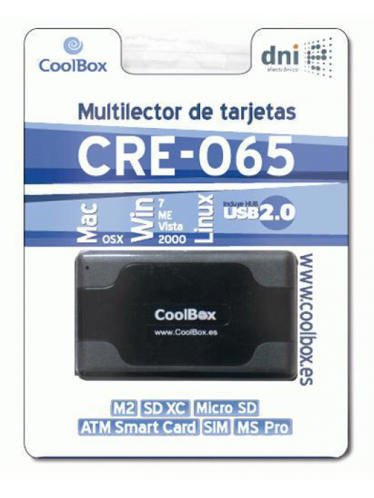Leitor Cartões 3.5´´ externo USB c- Smart Cart (DNIe) -CoolBox CRE-065