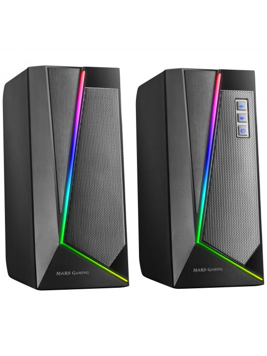Colunas MARS GAMING MS7 RGB SPEAKERS 20W USB, JACK+BLUETOOTH 5.0, DYNAMIC RGB, BLACK