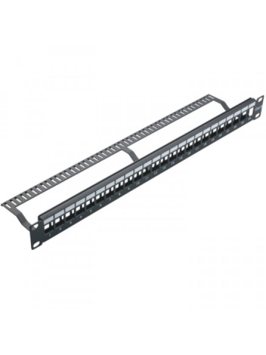 Blank Patch Panel With Cable Management 24 Ports, Cat5e-Cat6 UTP, Black