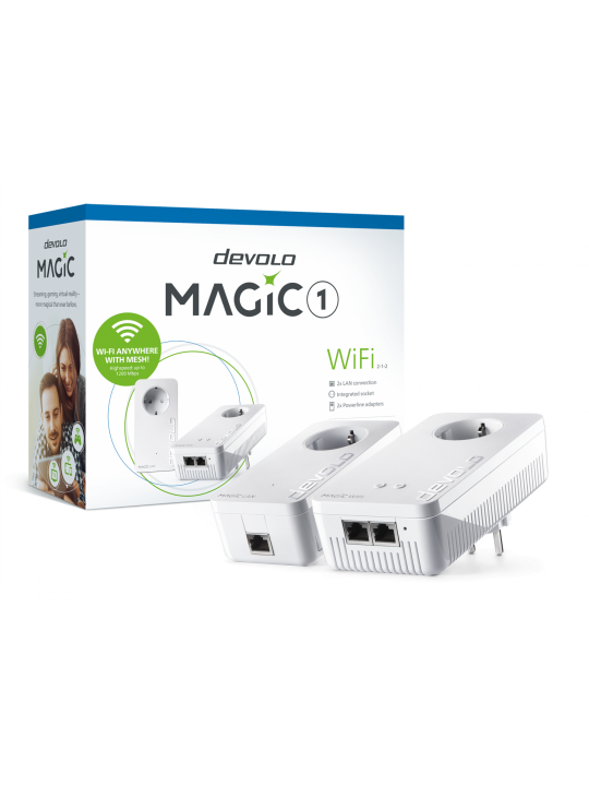 Devolo Magic 1 WiFi,Starter Kit,Velocidade PLC até 1200Mbps, Wi-Fi mesh c- 2 Portas LAN- PT8366