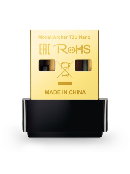 Adaptador TP-LINK AC600 Nano Wireless USB 2.0  433 Mbps-5GHz -ArcherT2UNano