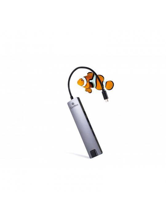 CoolBox COO-DOCK-01 base & duplicador de portas Com fios USB 3.2 Gen 1 (3.1 Gen 1) Type-C Cinzento