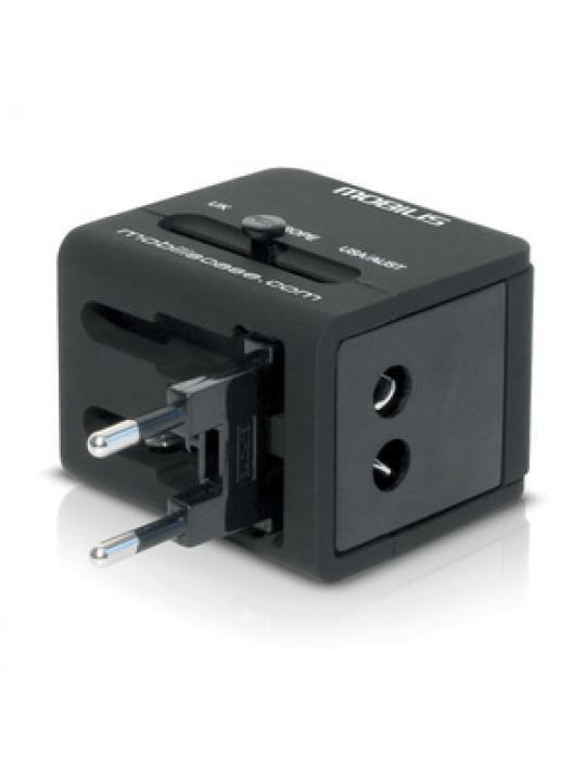 Adaptador Corrente MOBILIS Worldwide Travel 2 USB (100-240 V - 2x0,5A) Compativel 155 Países