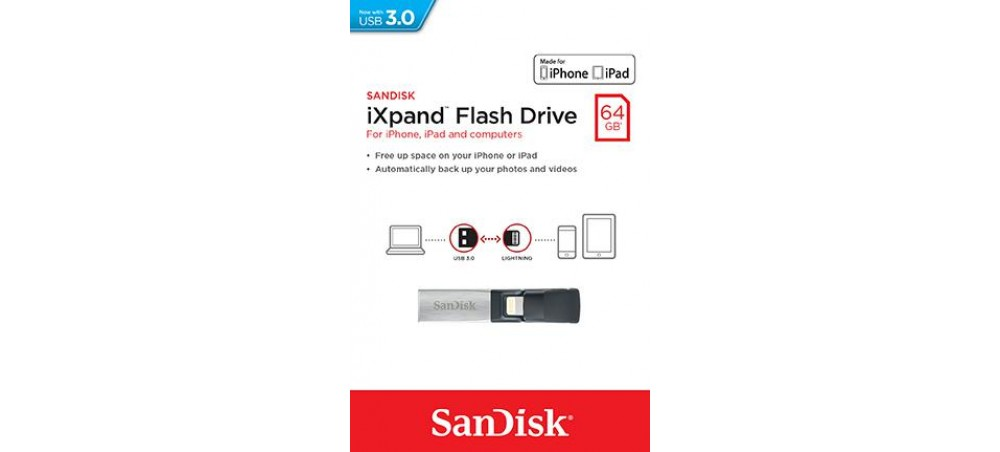 Sandisk iXpand Flash Drive 64GB - USB for iPhone